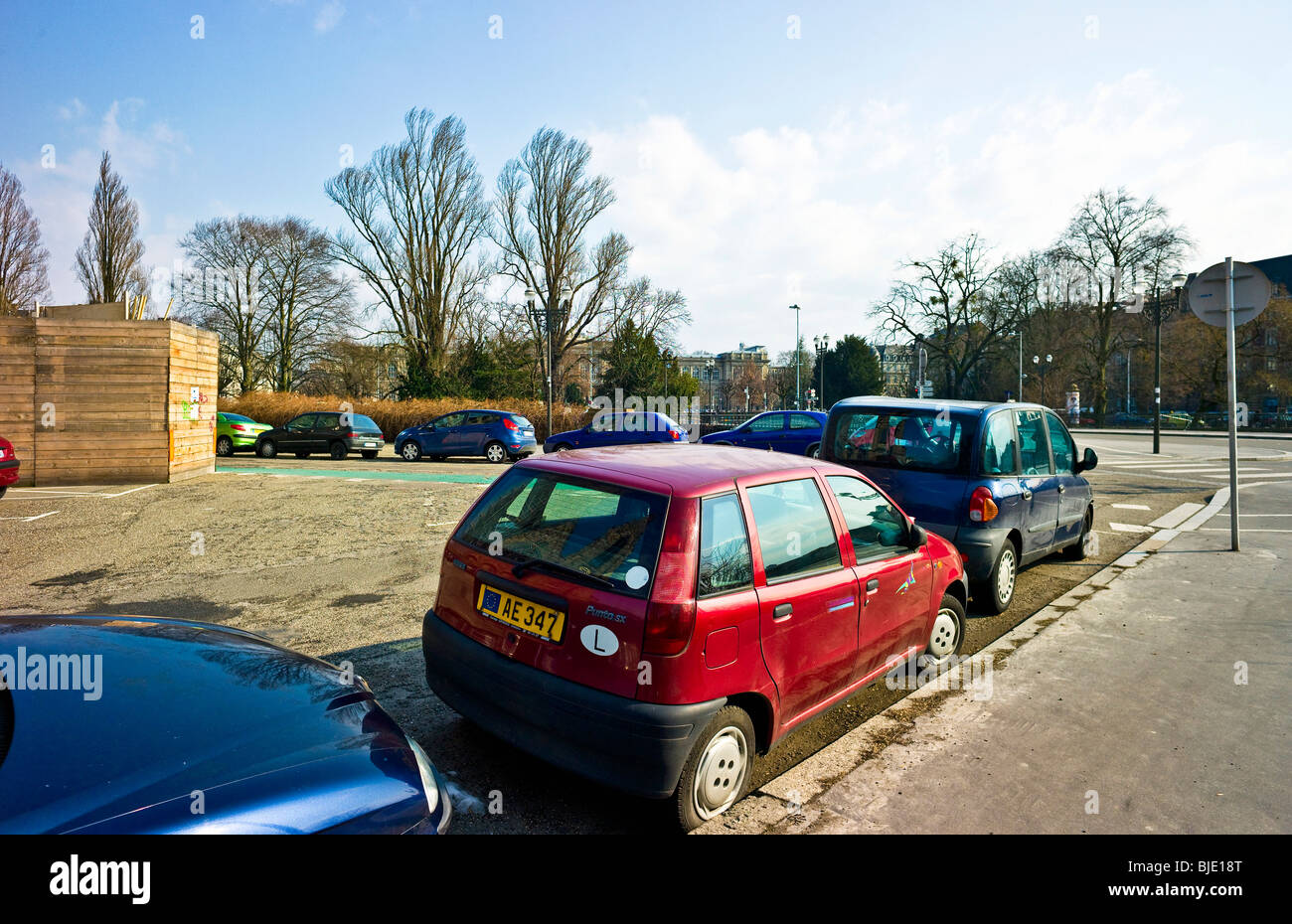 Parked cars, Strasbourg, Alsace, France - Stock Image
