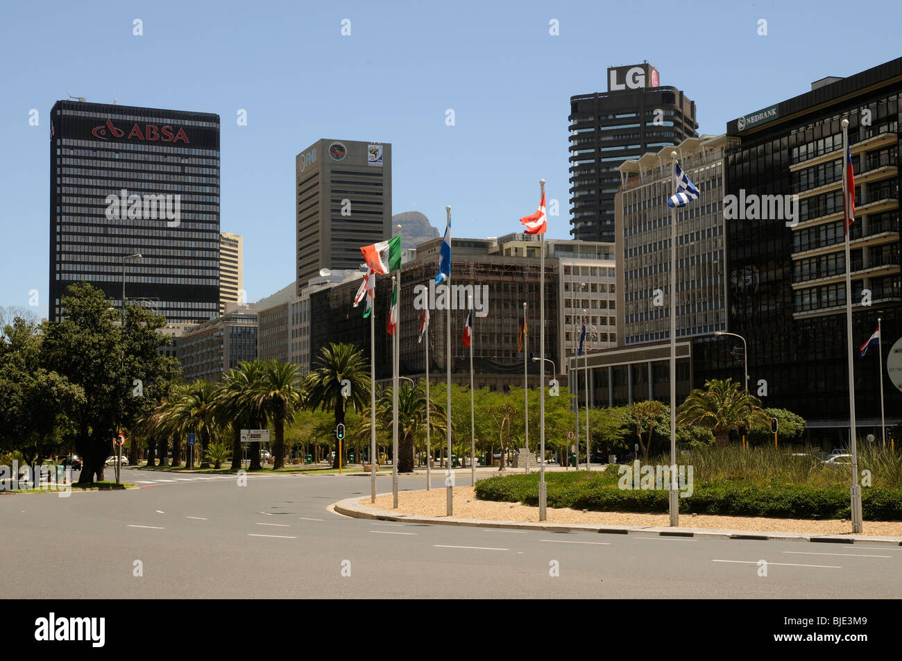 Nedbank and ABSA banks and other office premises along Adderley Street in Cape Town's city centre. South Africa - Stock Image