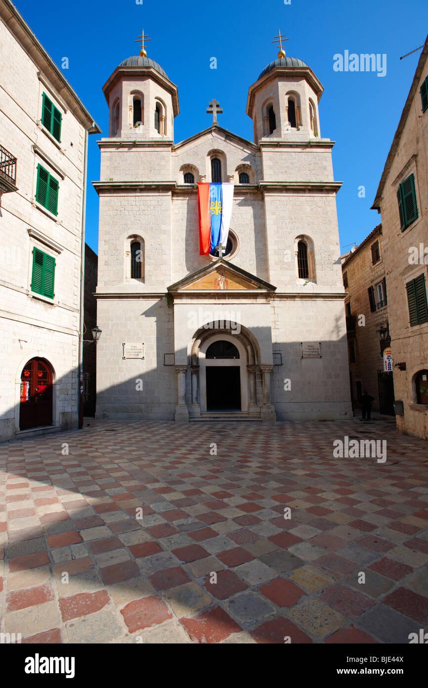 St Nicholas's Serbian Orthodax Church, St Lukes Square, Kotor, Montenegro. - Stock Image