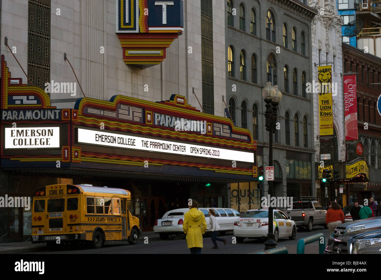 Boston's Theater District.  Washington Street looking East at Emerson College's Paramount Production Center. - Stock Image