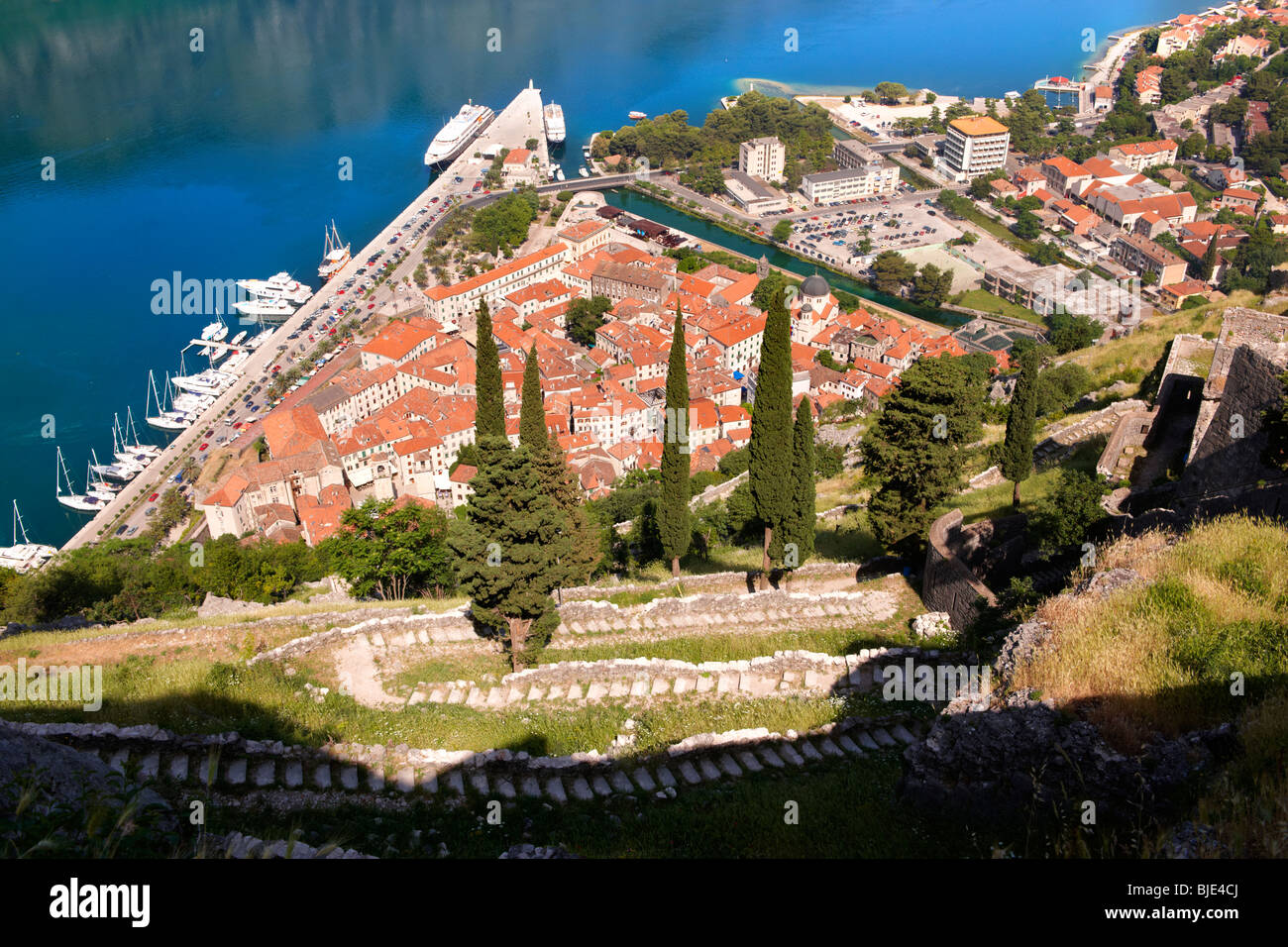 Kotor bay from the fortifications above Kotor town, Montenegro Stock Photo