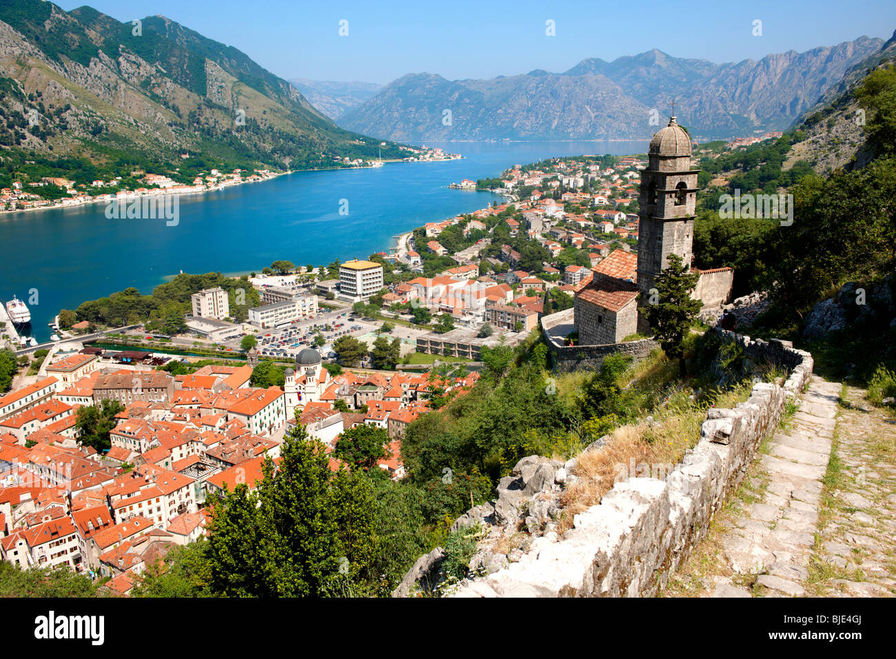 Kotor bay from the chuch of our Laday of Health ( Crkva Gospe od zdravja - 15th century) above Kotor town, Montenegro - Stock Image