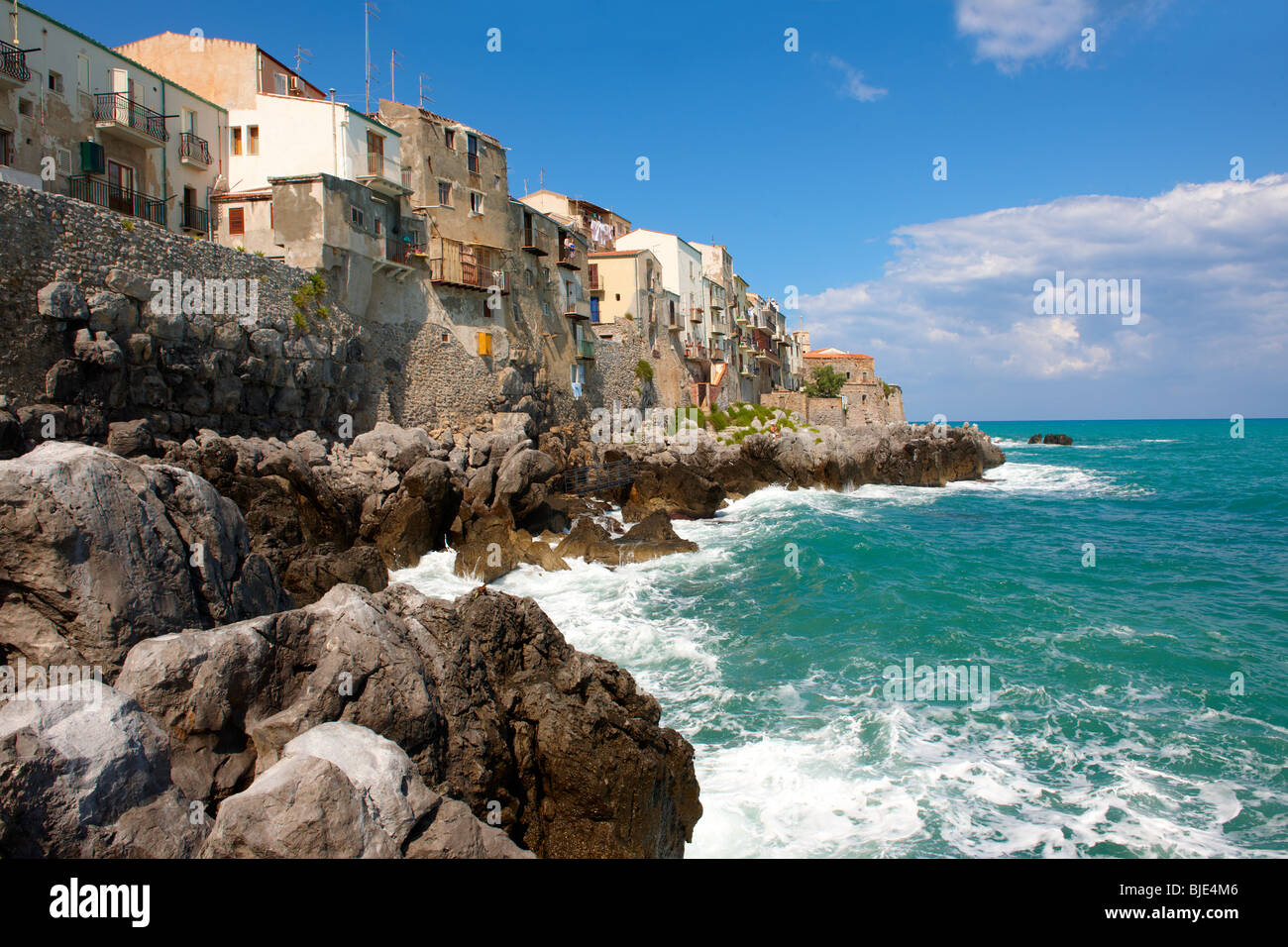 Medieval houses and seafront of old Cefalu [Cefaú] Sicily - Stock Image