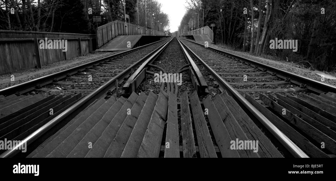 Train lines leading into East Malling railway station in Kent - Stock Image