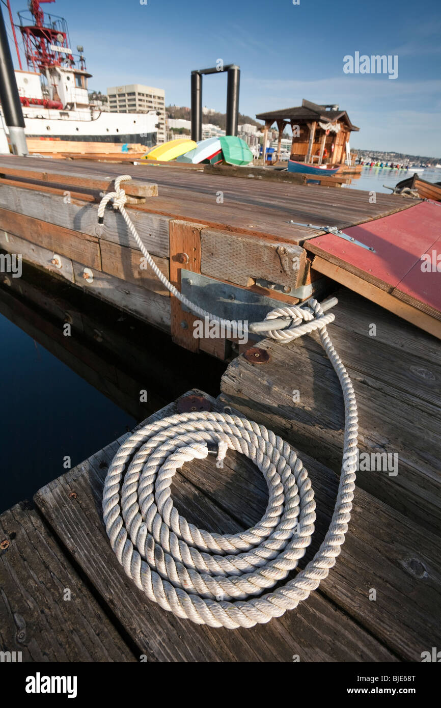 Coiled Rope at the Center for Wooden Boats - Seattle, Washington - Stock Image