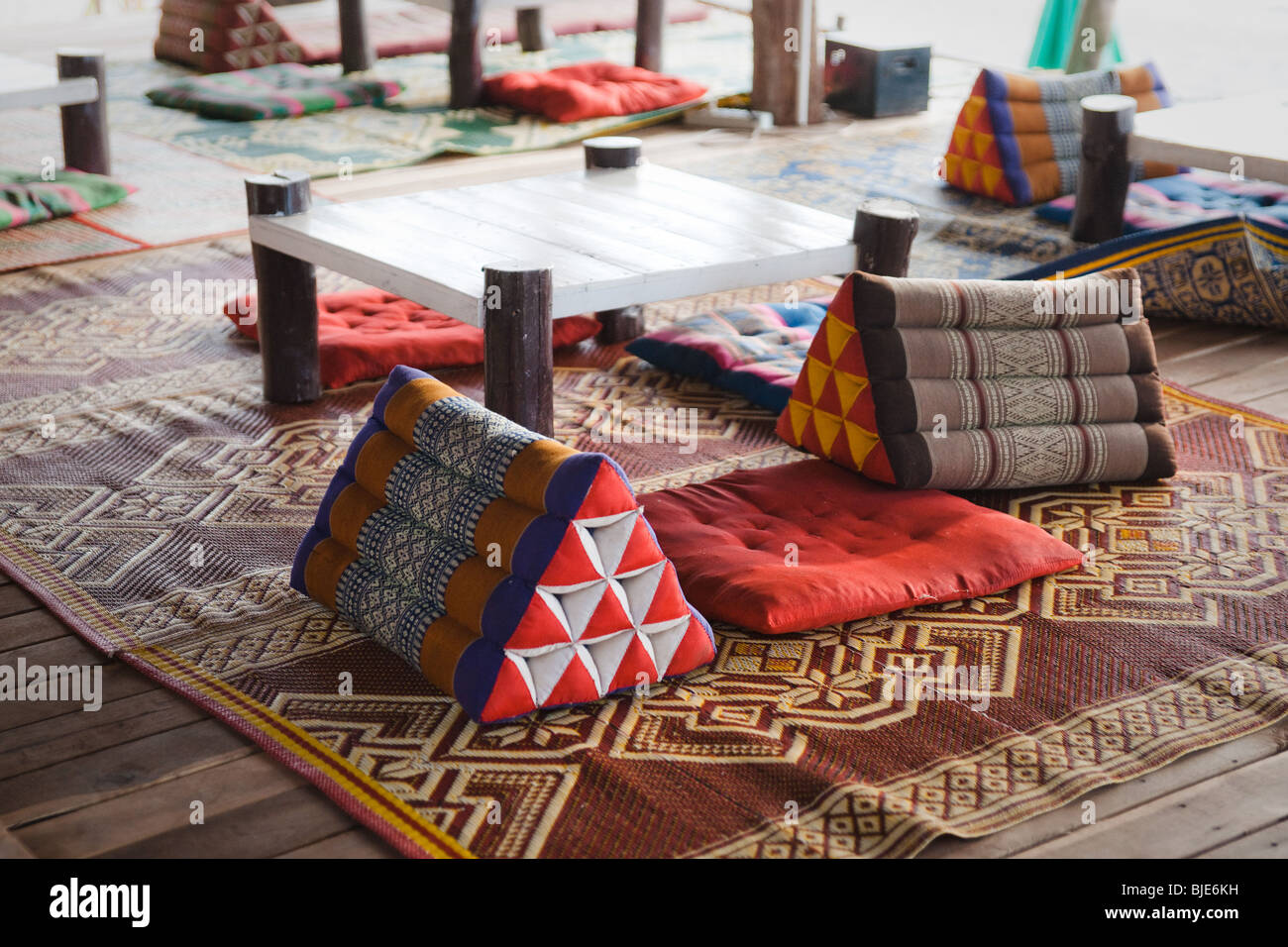 Travel image of typical Thai prism-shaped triangle pillows on a ...