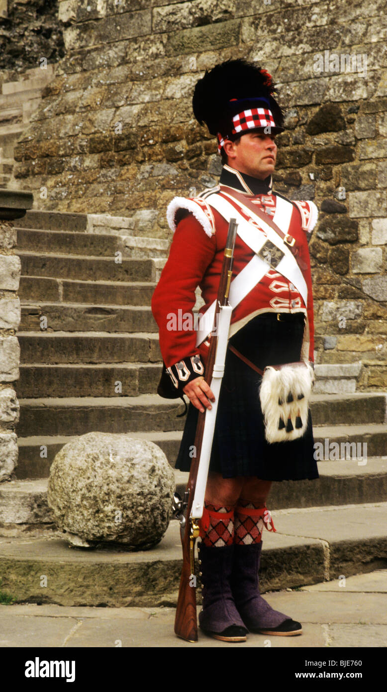 42nd Royal Highland Regiment Napoleonic period foot infantry soldier , 1815, historical re-enactment Napoleonic - Stock Image