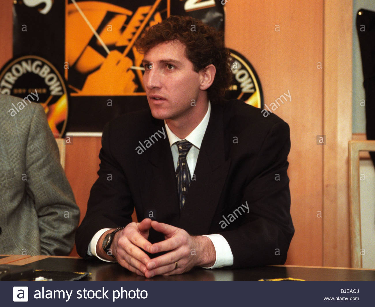 FEBRUARY 1996 TYNECASTLE - EDINBURGH Hearts keeper Gilles Rousset speaks to the press after signing a new deal with - Stock Image