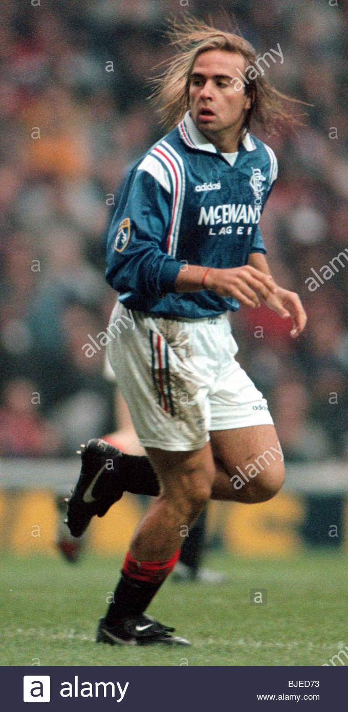 25/01/97 TENNENT'S SCOTTISH CUP 3RD RND RANGERS V ST JOHNSTONE (2-0) IBROX - GLASGOW Sebastian Rozental in action - Stock Image