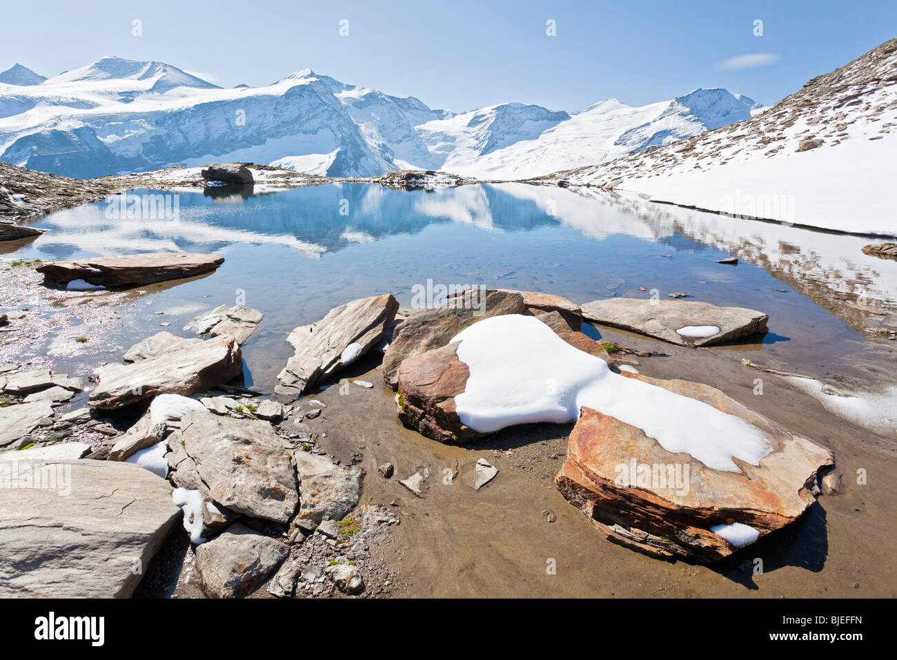 Small mountain lake, Hohe Tauern in the background, Zell am See, Austria Stock Photo