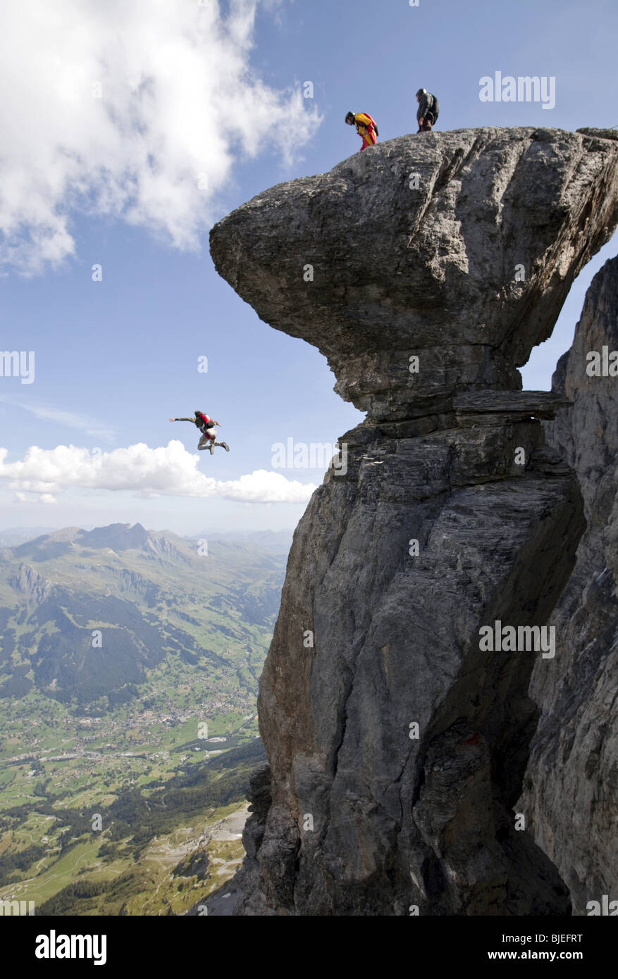 Basejumper, Eiger North Face, Switzerland - Stock Image