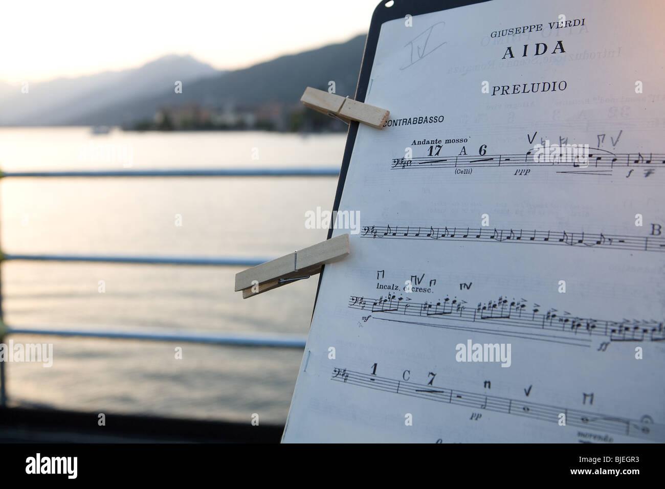 Europe, Italy, Piemonte, lake Maggiore, concerts, Stresa, musical, scores - Stock Image