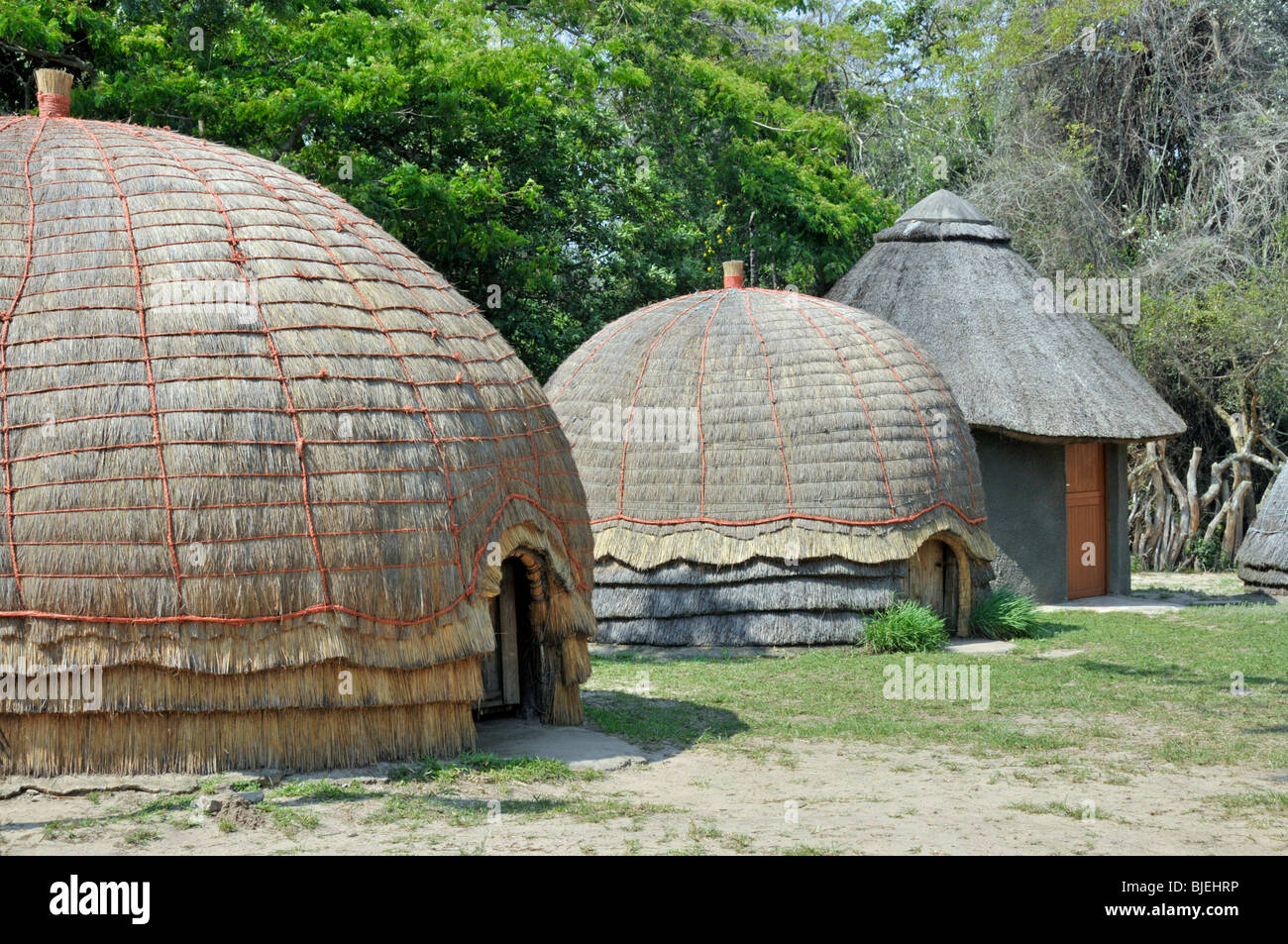 Huts at an openair museum, Kuhla, Republic of South Africa - Stock Image