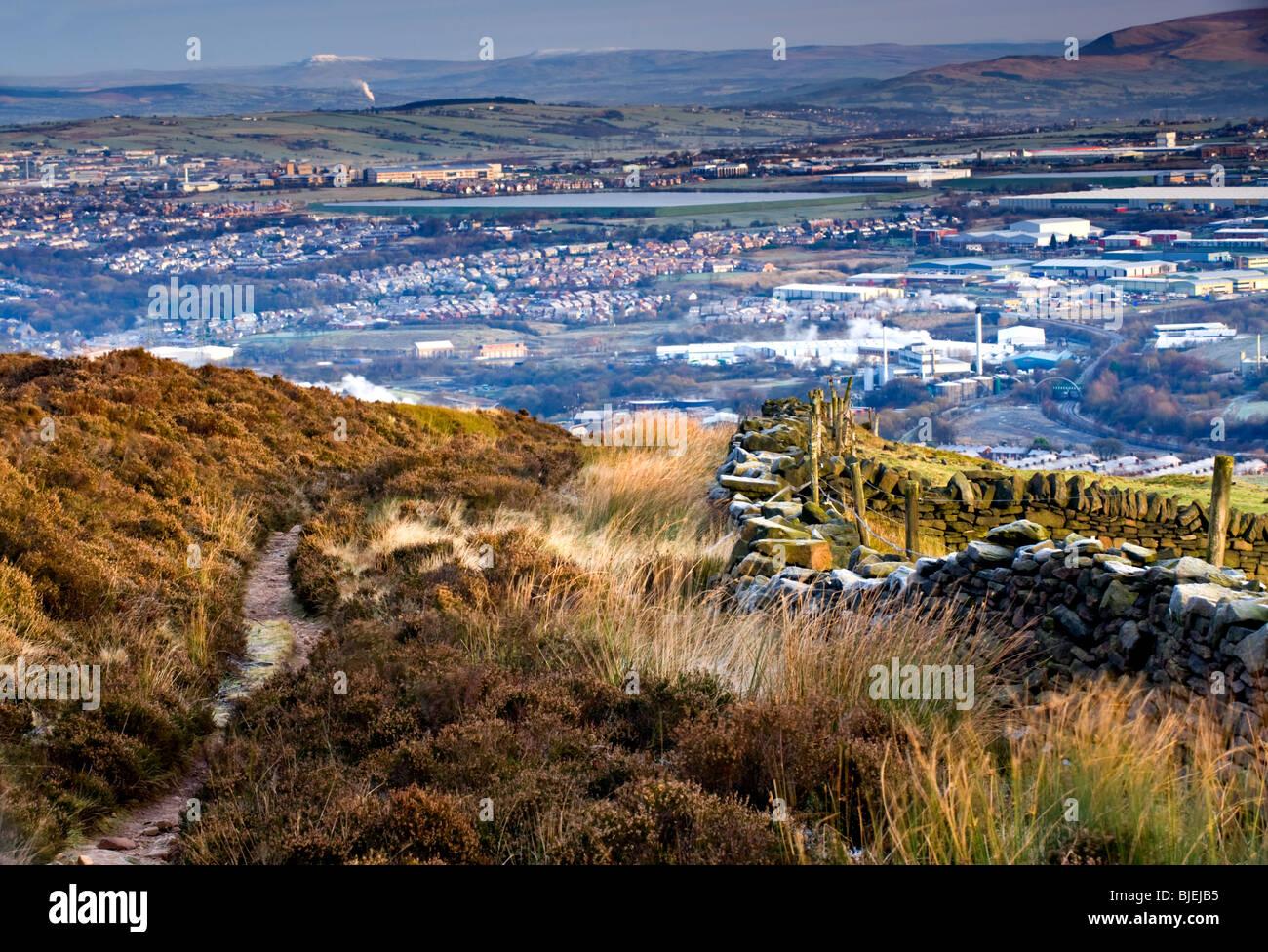 The Town of Darwen, Viewed from Jubilee Hill, Darwen, Lancashire, England, UK - Stock Image