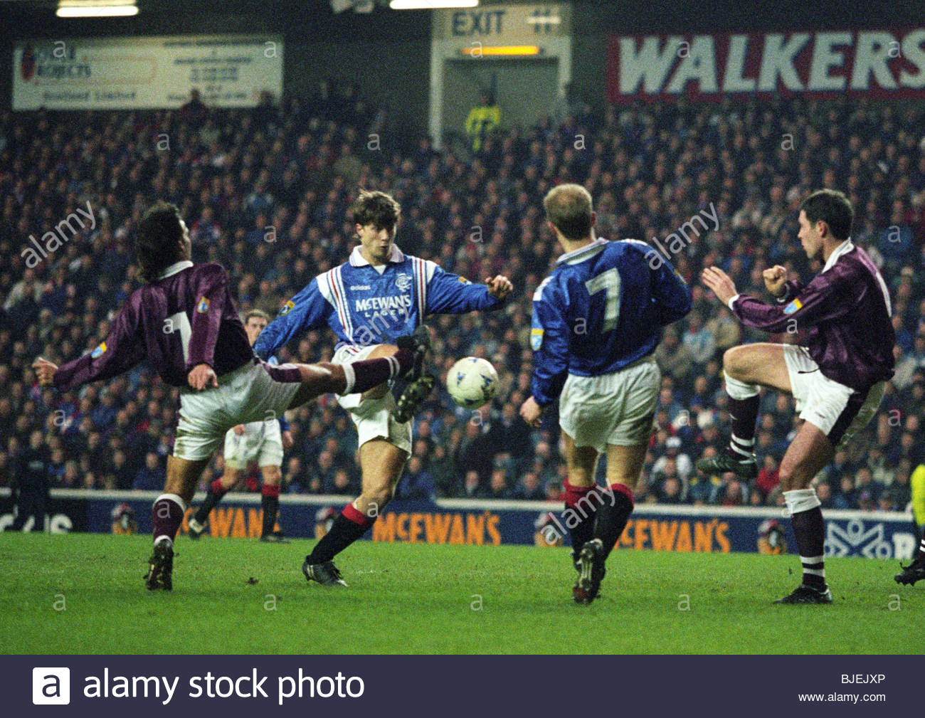 01/02/97 BELL'S PREMIER DIVISION RANGERS V HEARTS (0-0) IBROX - GLASGOW Rangers winger Brian Laudrup is challenged - Stock Image