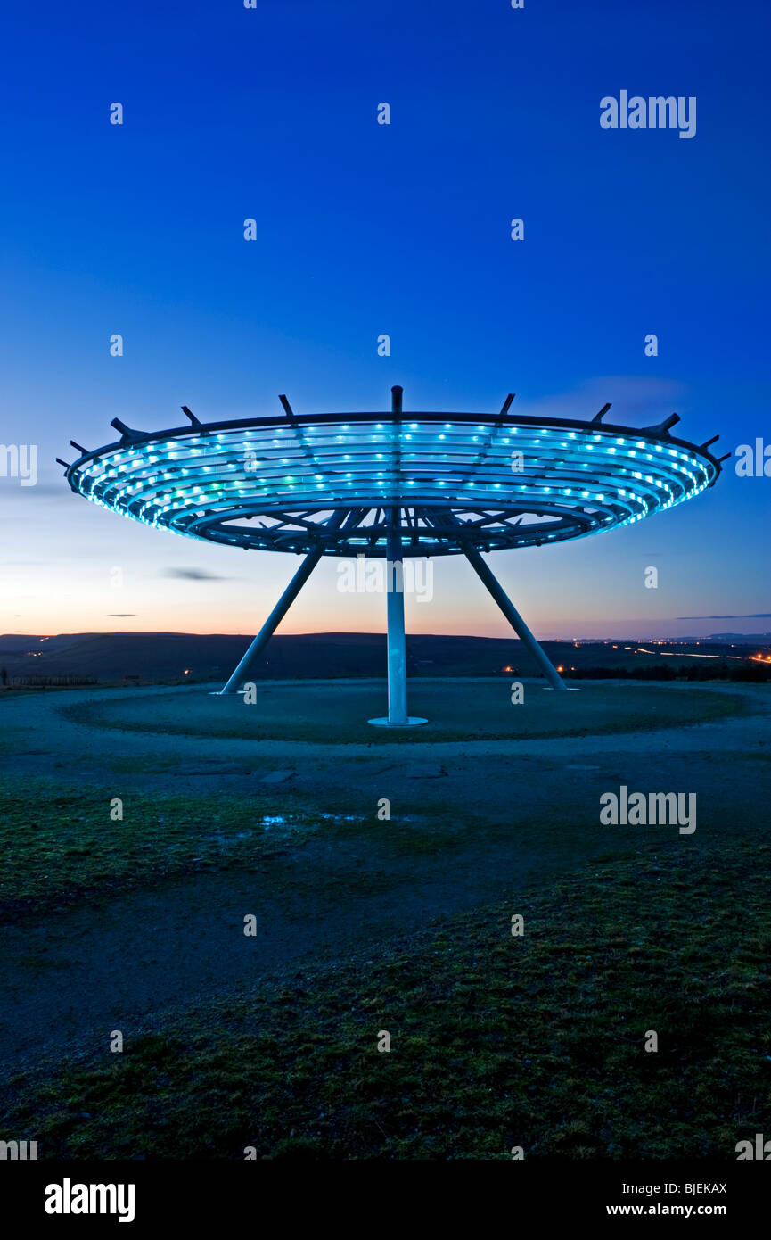 The Halo Panopticon at Night, Top o' Slate, Near Rossendale, Lancashire, England, UK - Stock Image