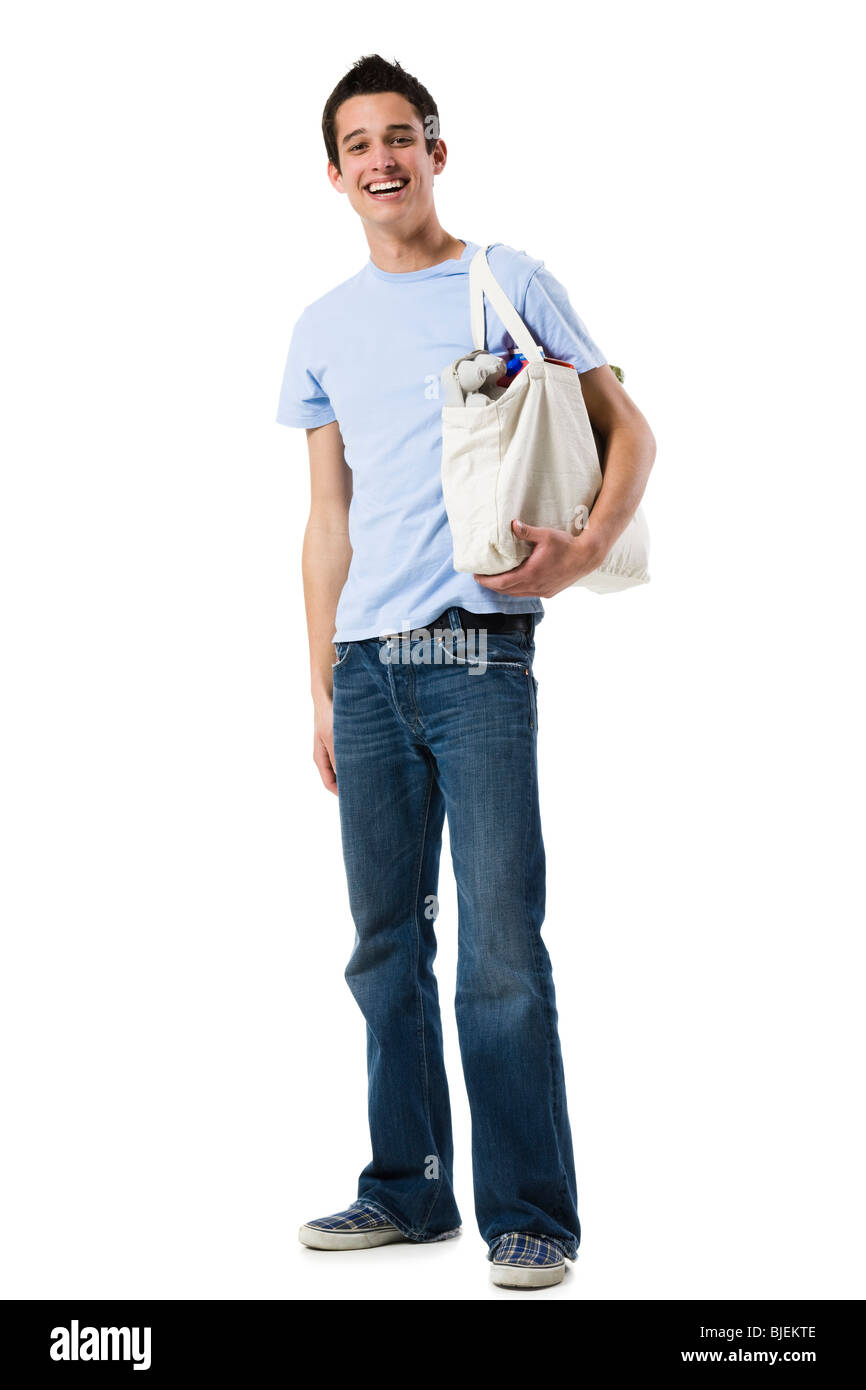 young man in a blue shirt - Stock Image