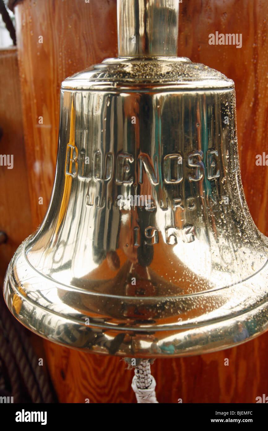 tall ship Bluenose II ship's bell - Stock Image