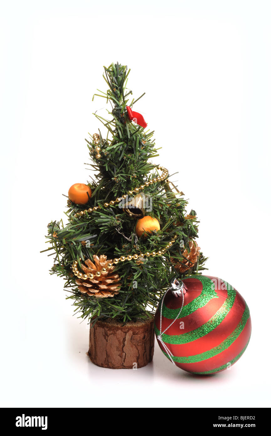 Christmas tree and Bauble - Stock Image