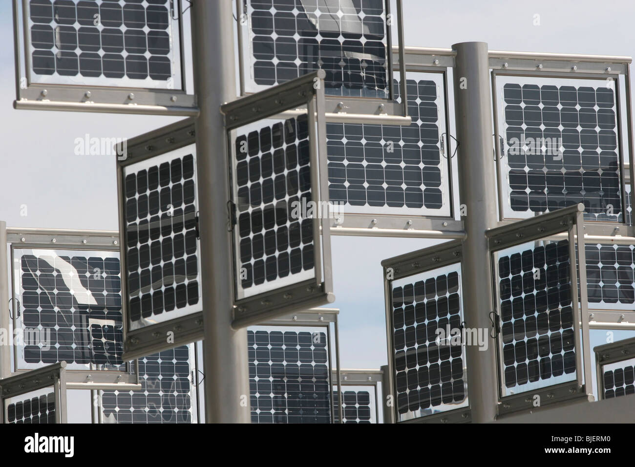 WORLD EXPO 2005, Aichi, Japan. Solar panels on the Hitachi building. Stock Photo