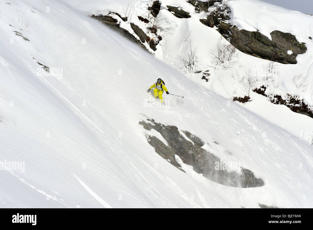 A free ride skier at Voss resort Norway - Stock Image