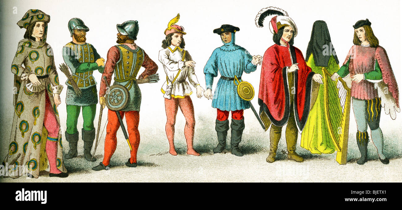 British between 1450 and 1500: knight of the garter, two warriors, two serving men, male citizen, female citizen, - Stock Image