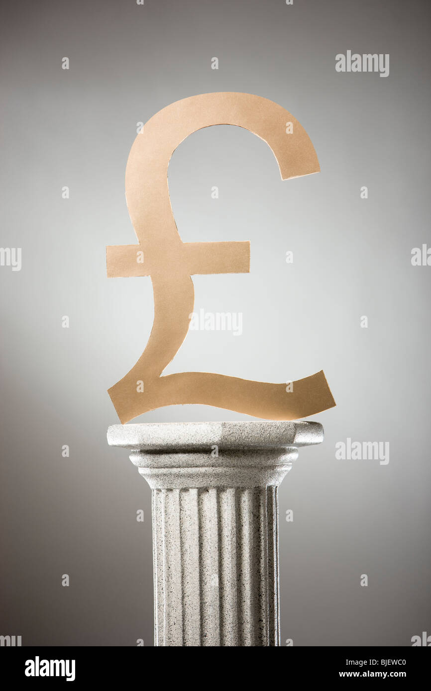 pound symbol on a pedestal - Stock Image