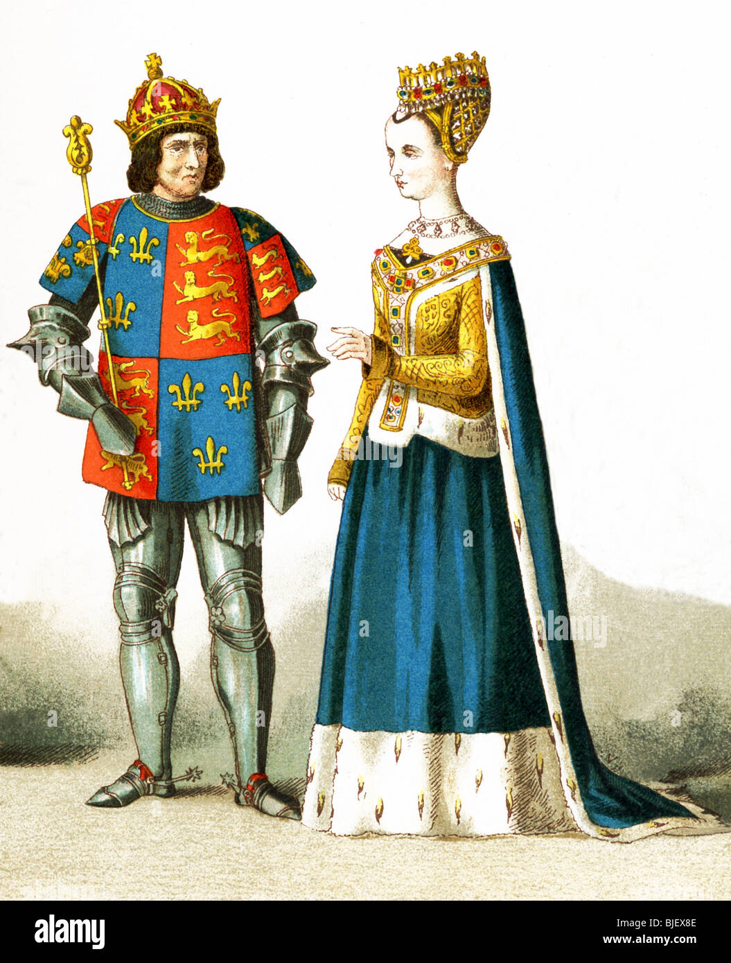 This illustration shows England's King Richard III (killed on Bosworth Field, ending Wars of the Roses) with - Stock Image