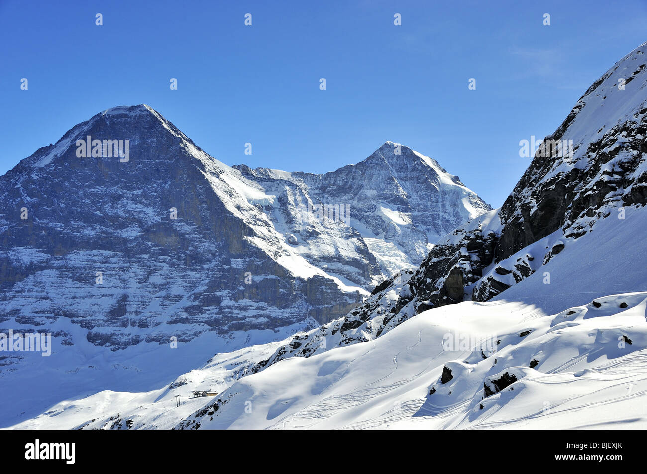 Mount Eiger north face Switzerland,and off piste ski tracks - Stock Image