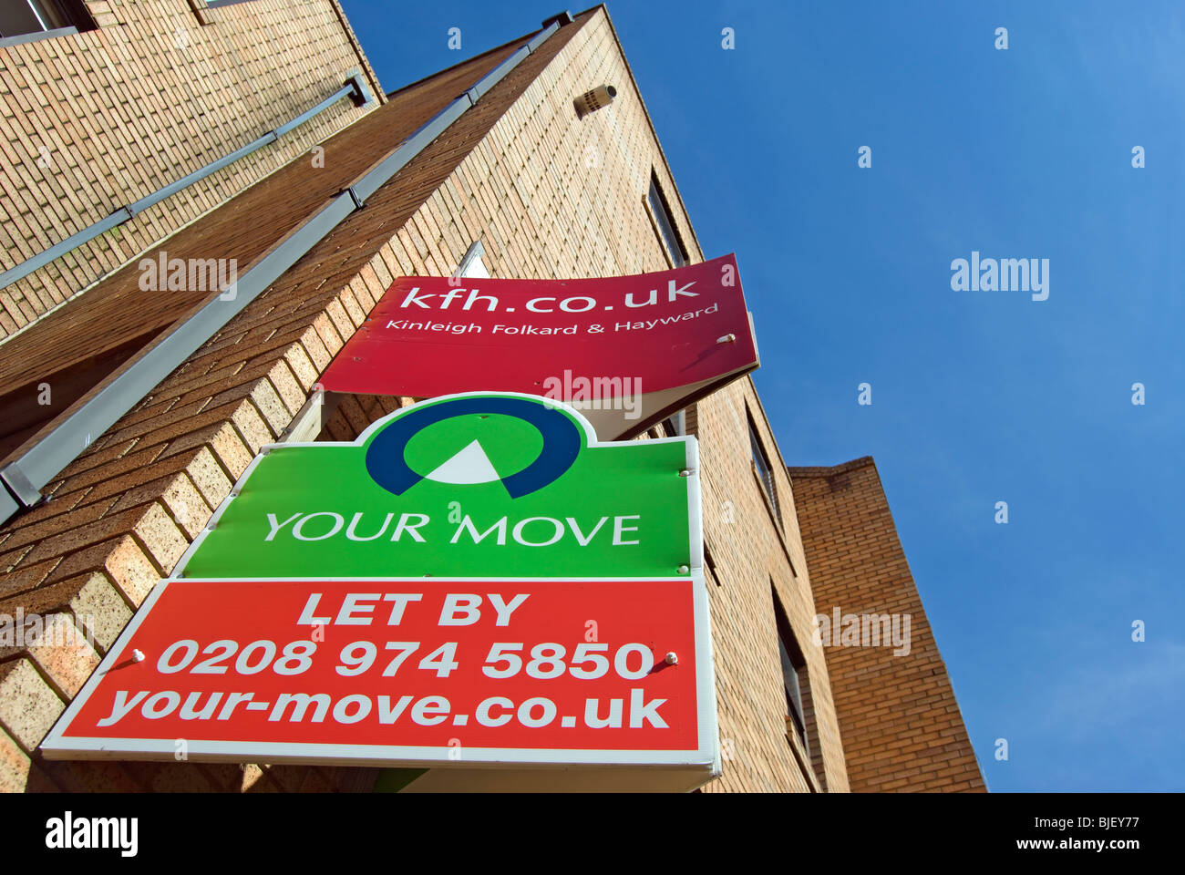 lettings boards in kingston upon thames, surrey, england - Stock Image