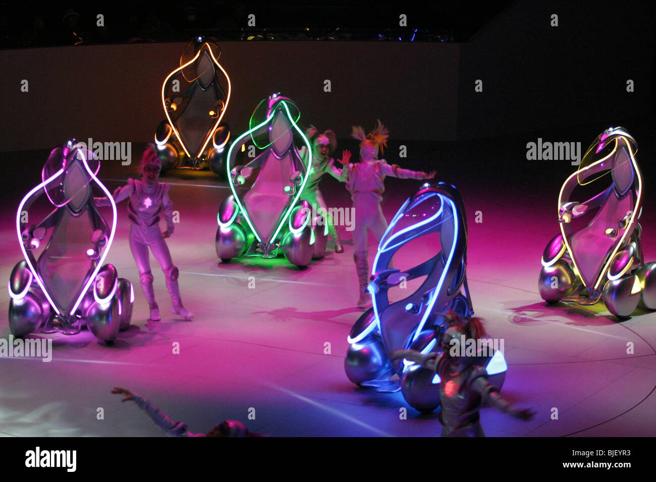 Toyota 'i-unit' concept vehicles and dancers perform in a show at the Toyota Pavilion, at World Expo 2005, - Stock Image