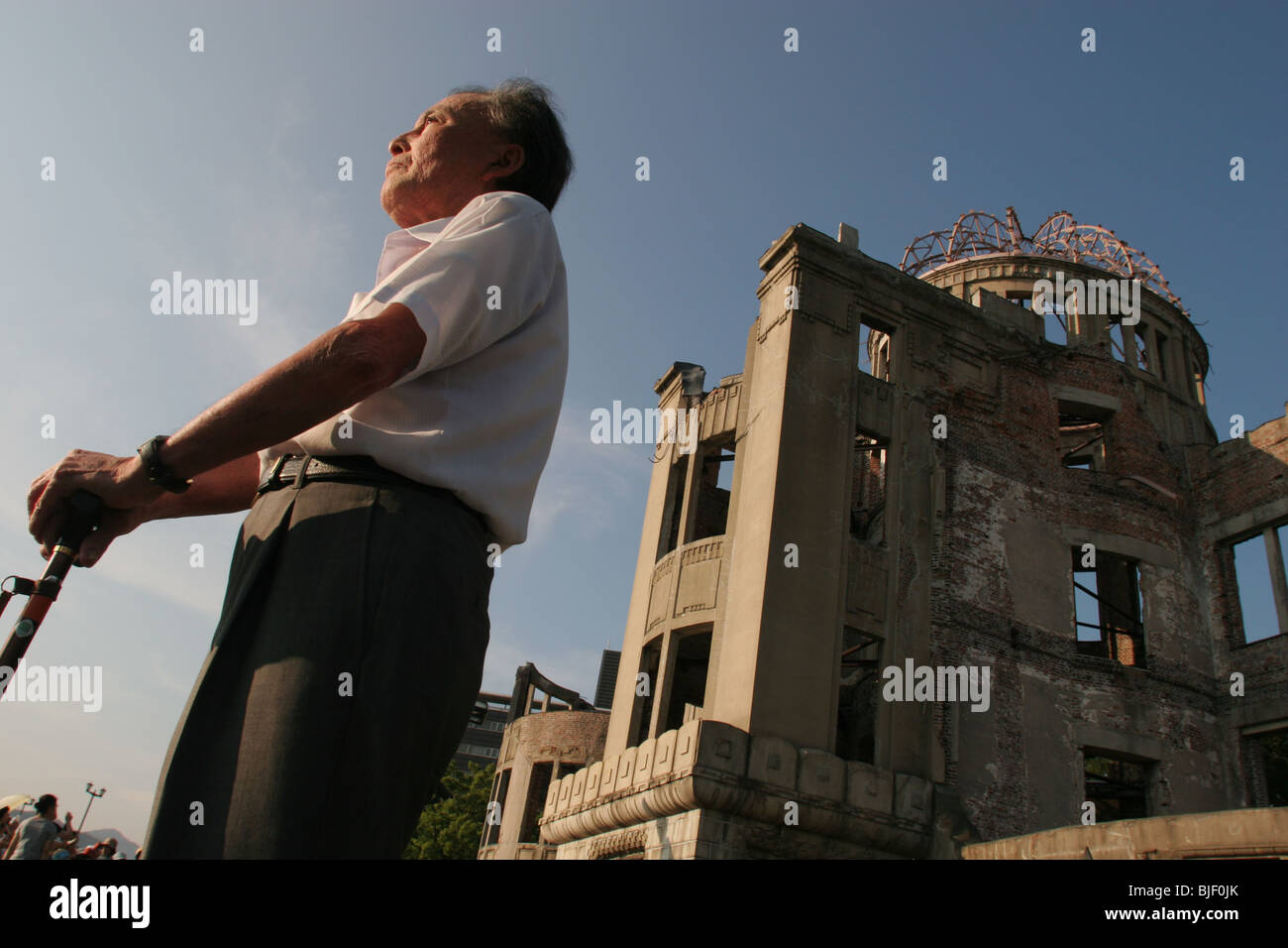 Seiko Komatsu, 69 years old, injured in the atomic bomb blast of August 6th 1945 in Hiroshima, Japan. - Stock Image