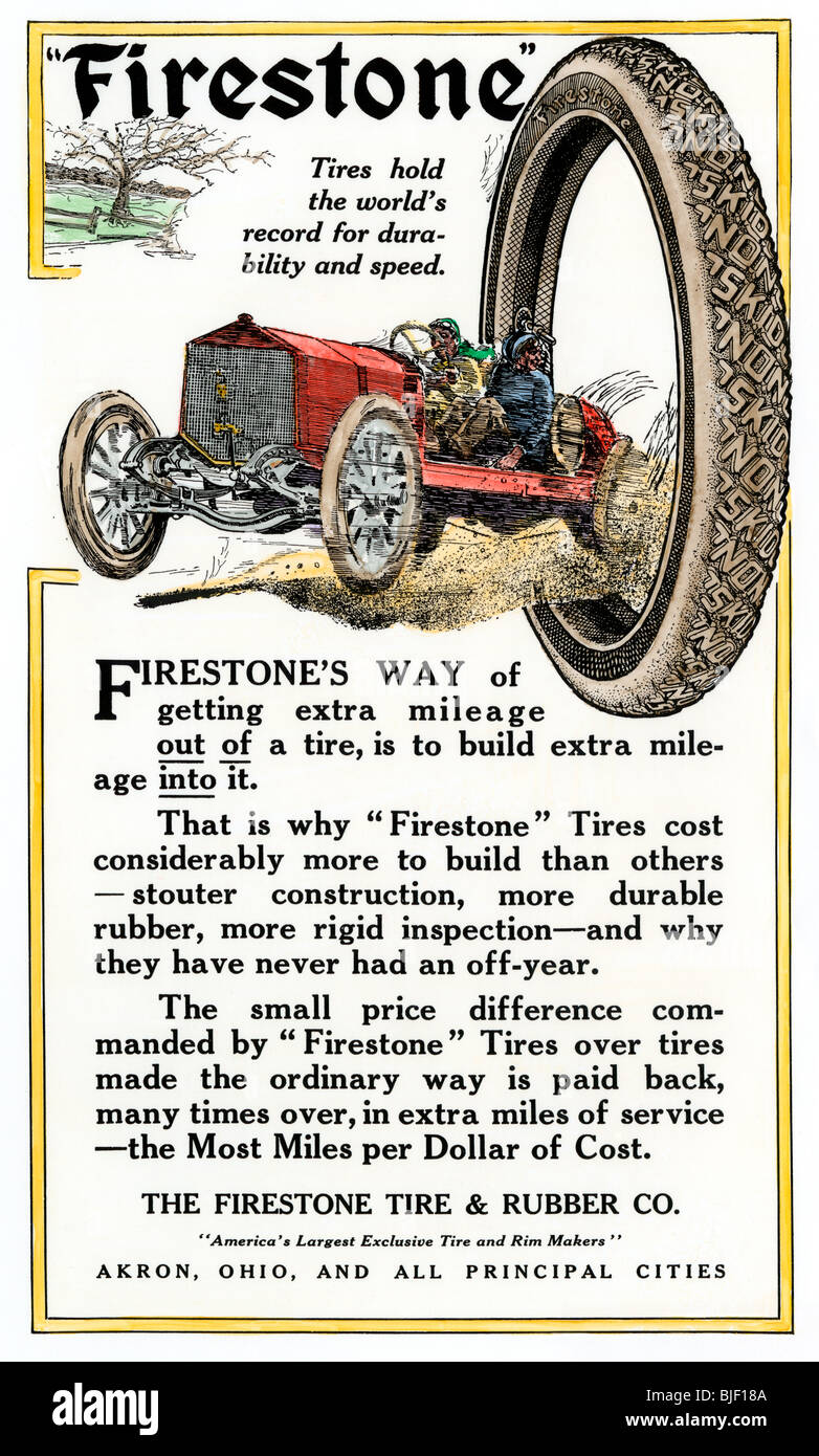 Advertisement for Firestone Tire & Rubber Company, 1912. Hand-colored woodcut - Stock Image