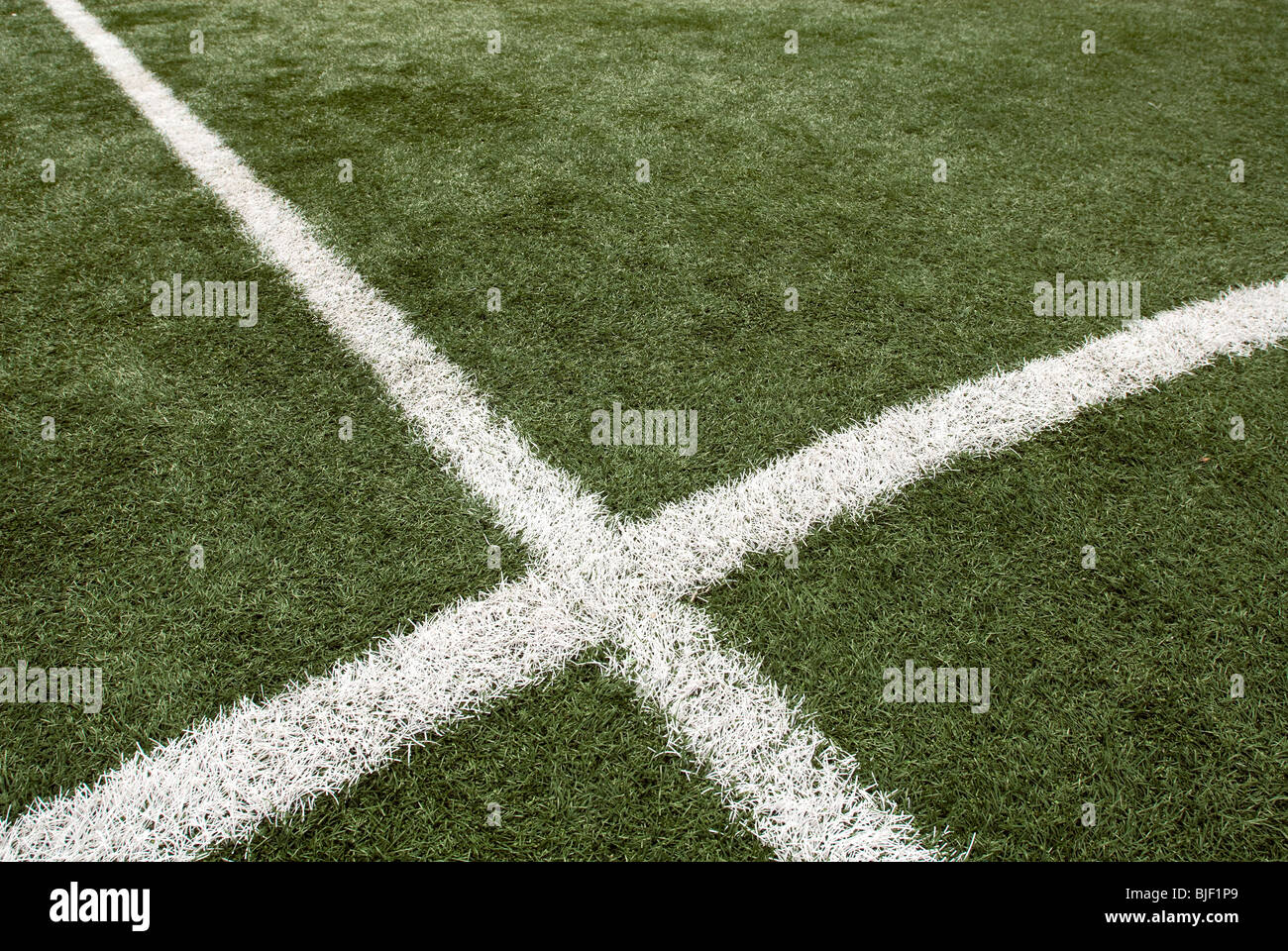 The AstroTurf PureGrass soccer/football field in Macombs Dam Park in the New York borough of the Bronx Stock Photo