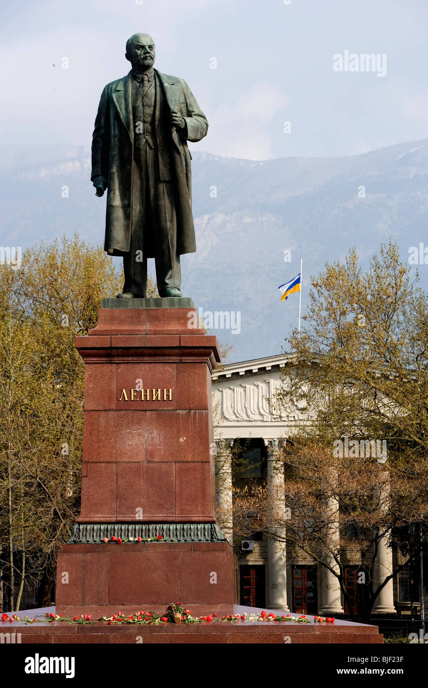 Ukraine,Crimea,Yalta,Lenin square,Lenin statue Stock Photo