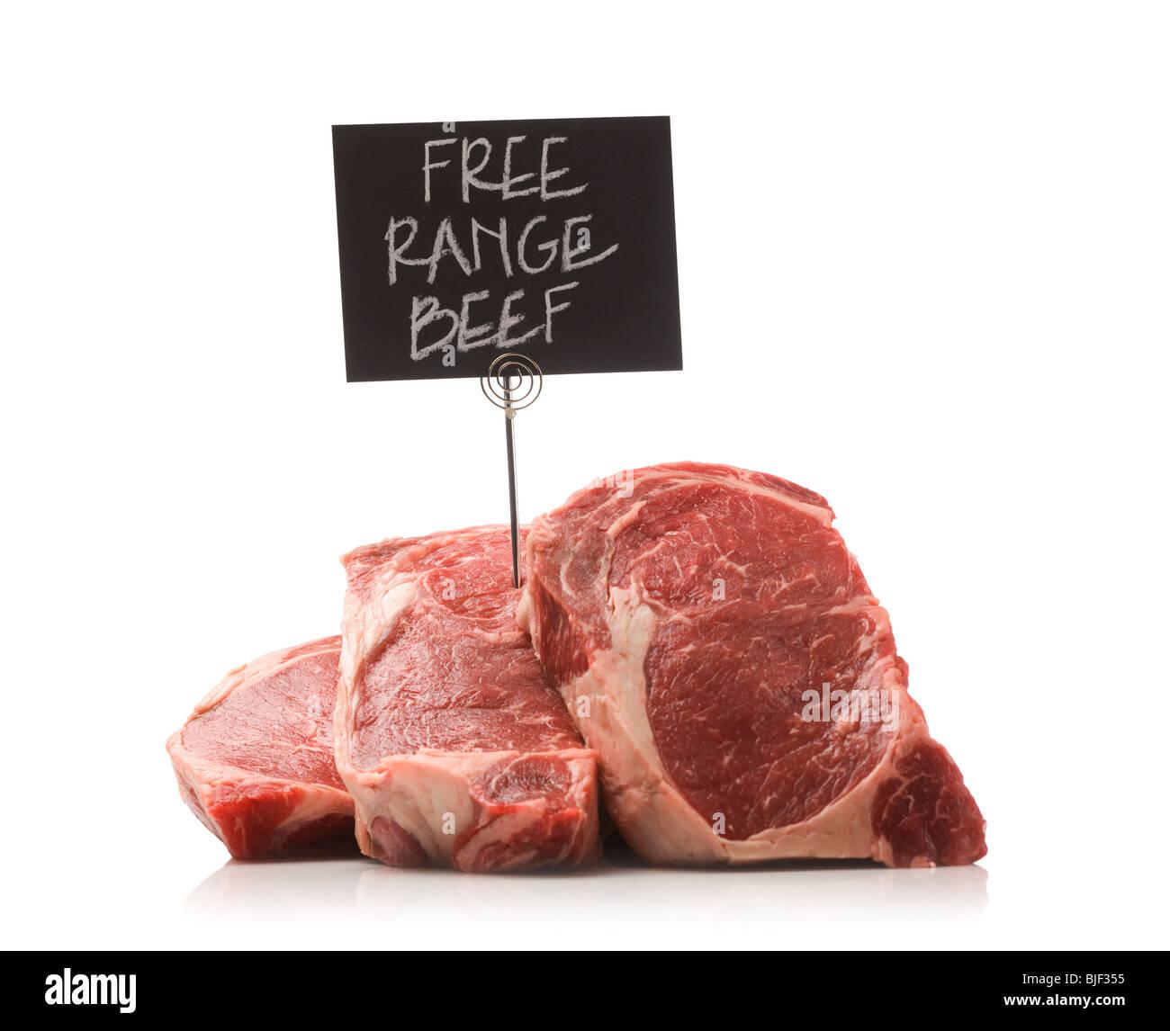 pile of beef steaks - Stock Image