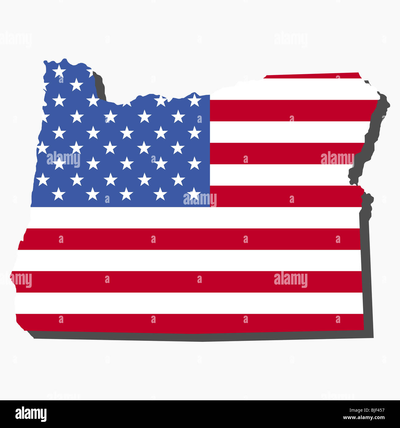 Map Of The State Of Oregon And American Flag Illustration Stock - American-flag-us-map