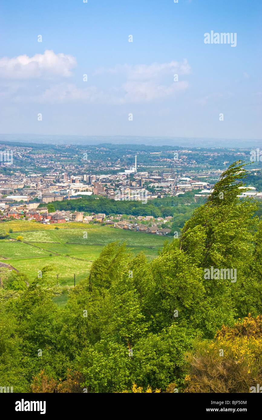 View of the town of Huddersfield from Castle Hill, Huddersfield, West Yorkshire, UK - Stock Image