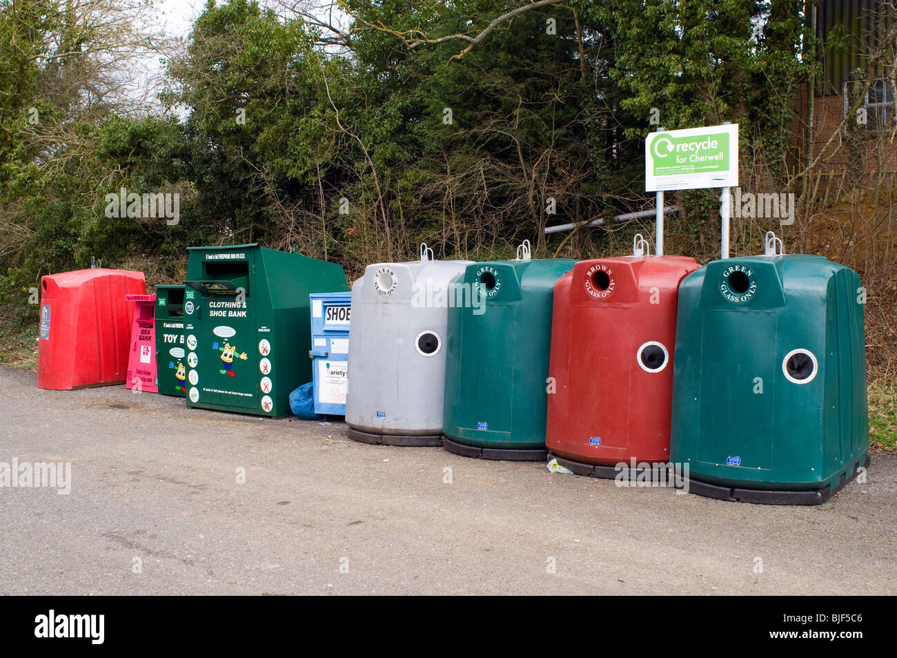 recycling centre near Banbury Oxfordshire with various recycling containers - Stock Image