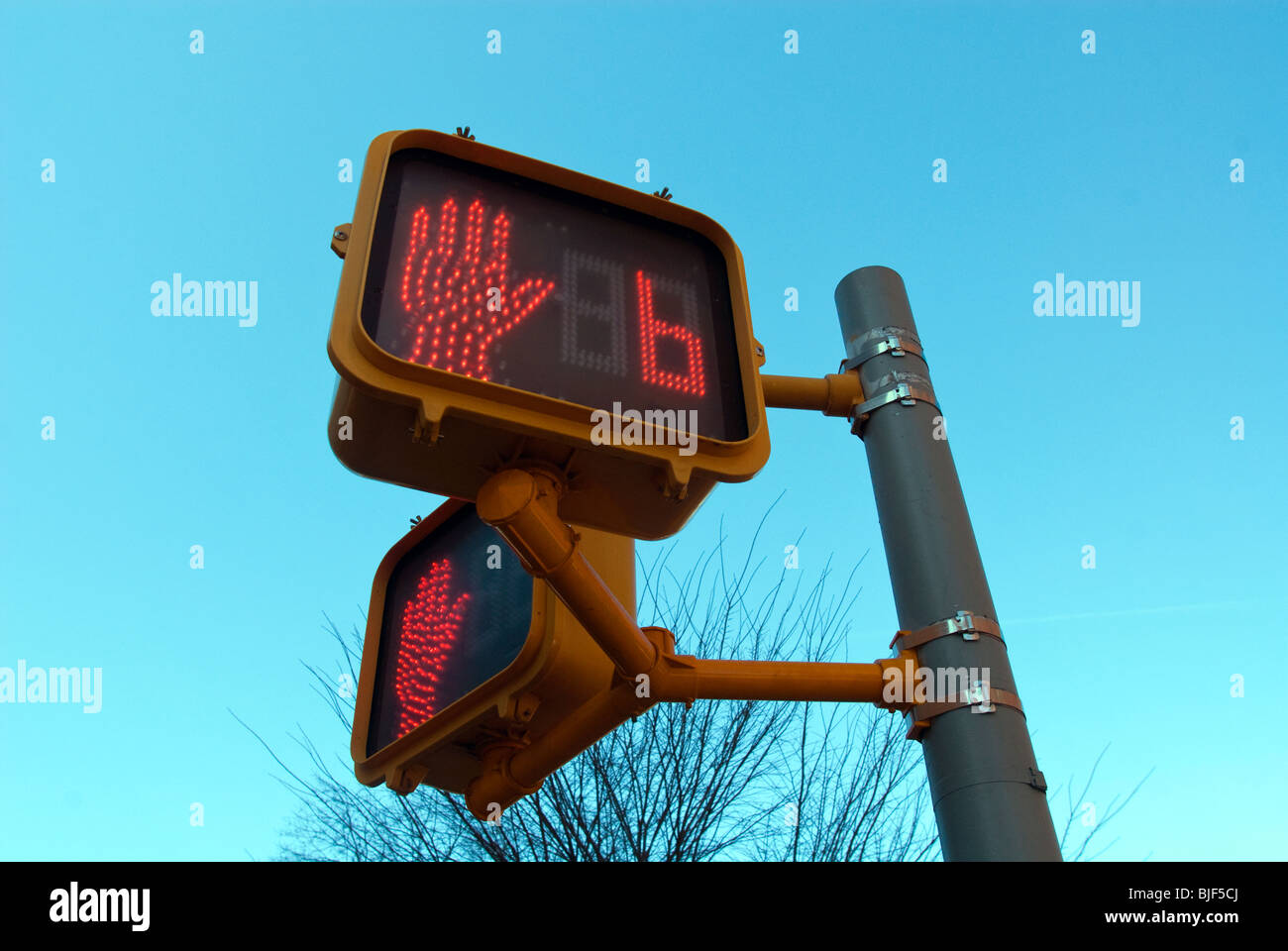 A pedestrian walk-don't walk sign with a seconds countdown is seen on a street corner near Union Square in New - Stock Image
