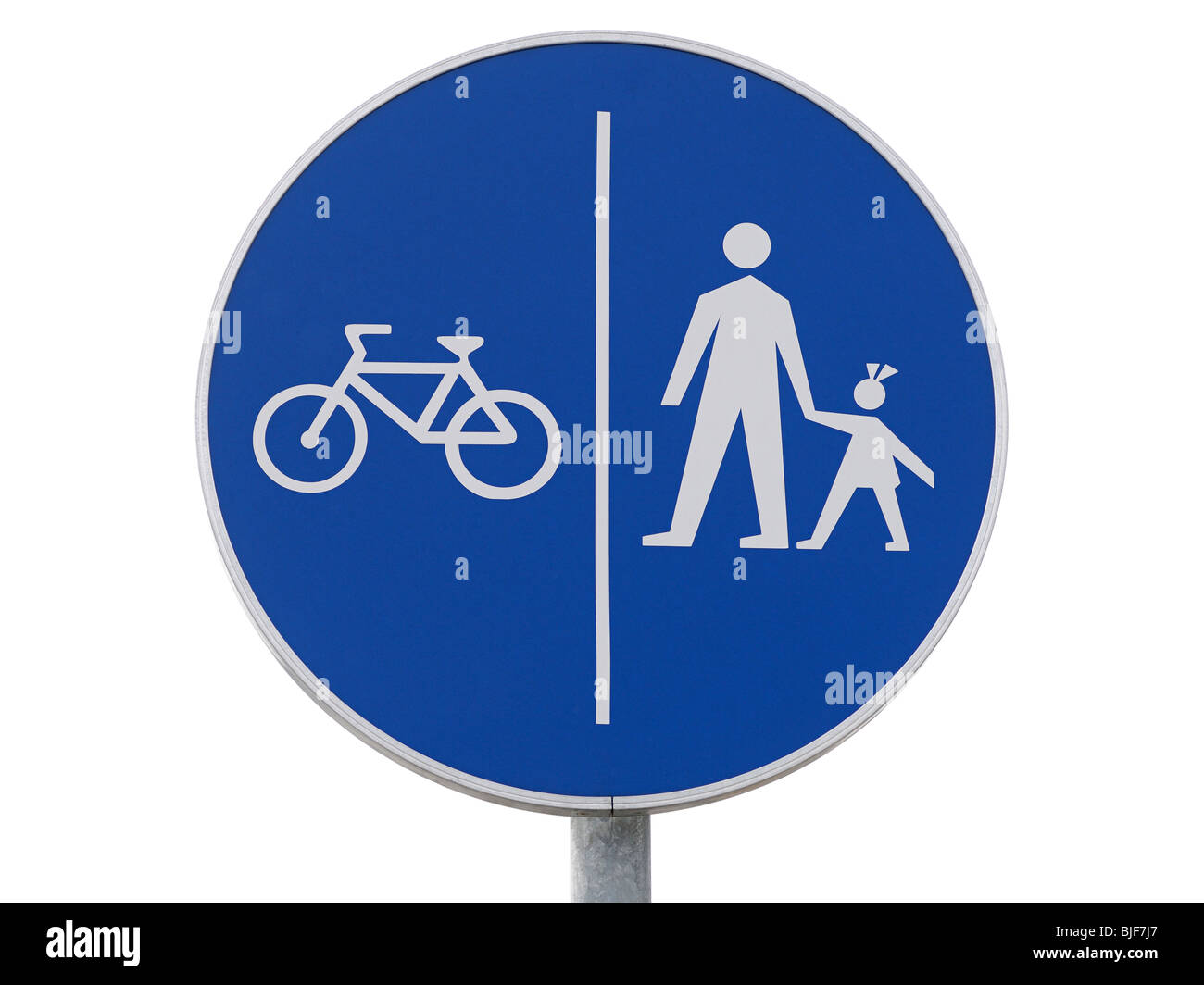 Bicycles and Pedestrians Only Sign, Close Up. - Stock Image