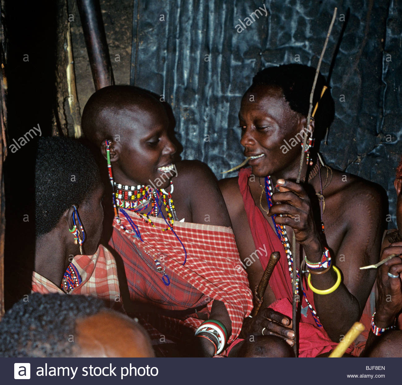 Maasai courting couple - Stock Image