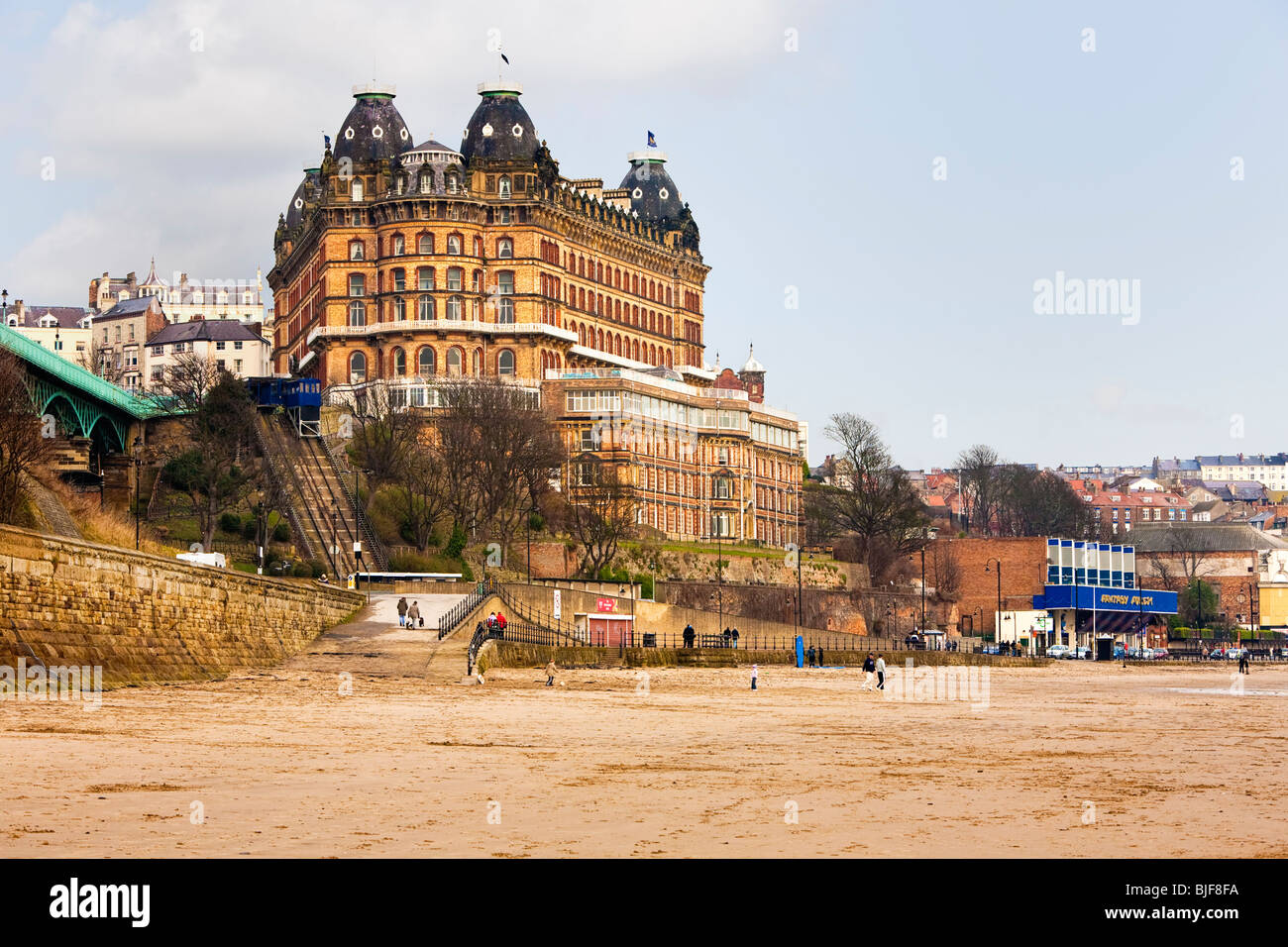 Grand Hotel and beach, Scarborough, England UK - Stock Image