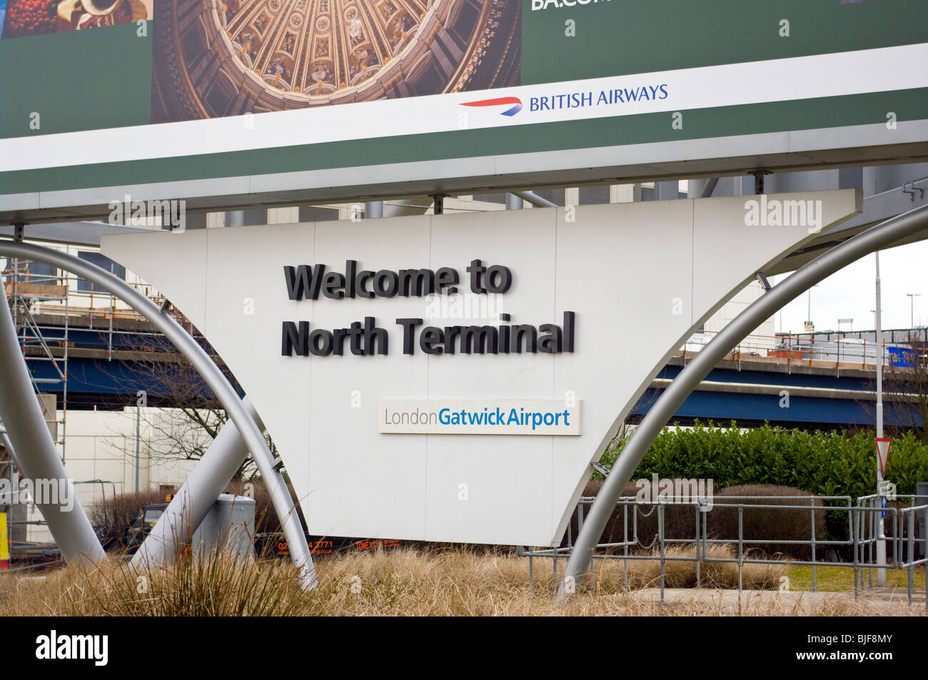Welcome To North Terminal Sign At Gatwick Airport - Stock Image
