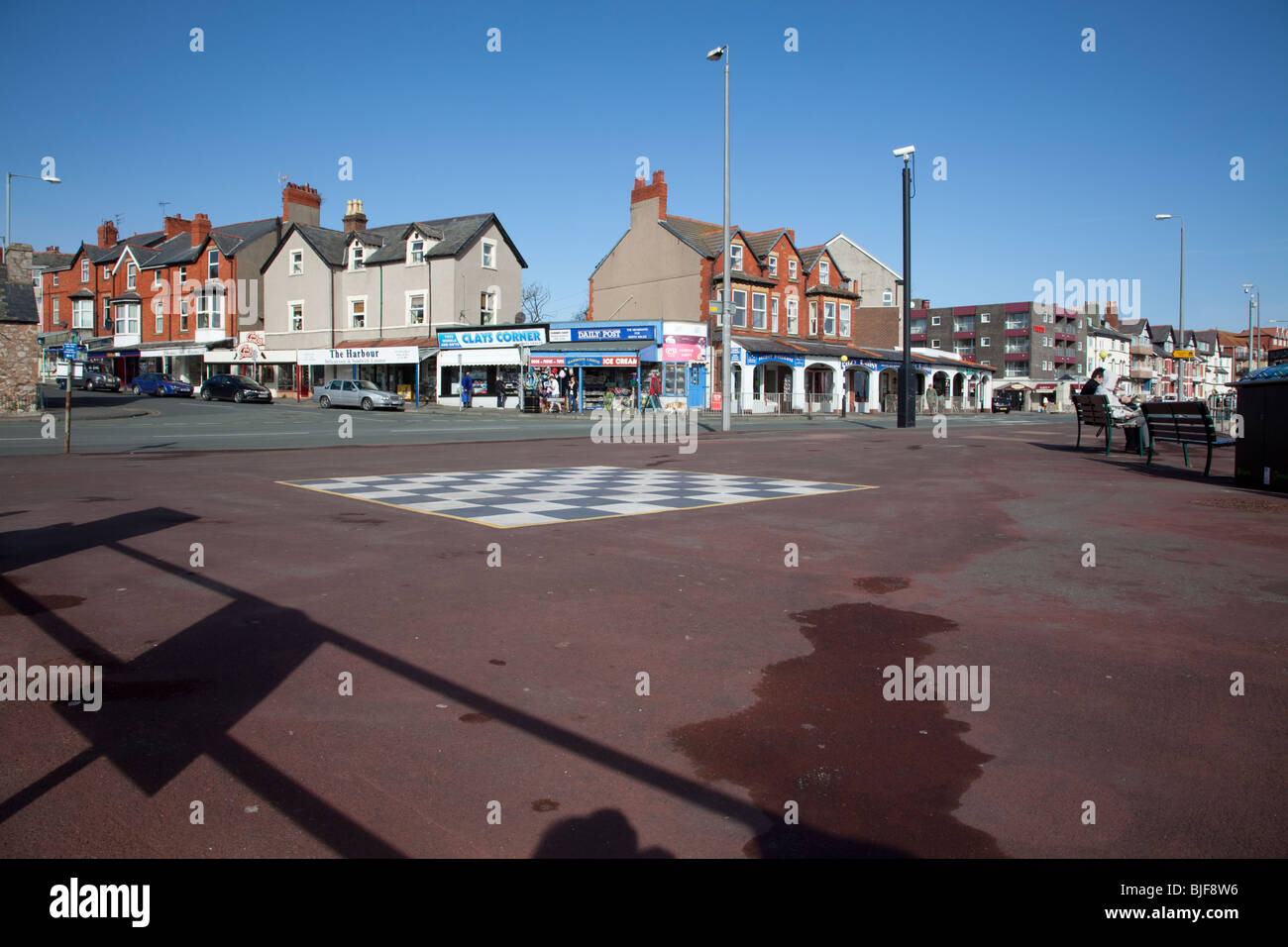 Rhos on Sea, North Wales seafront shops and accommodation viewed from the promenade - Stock Image