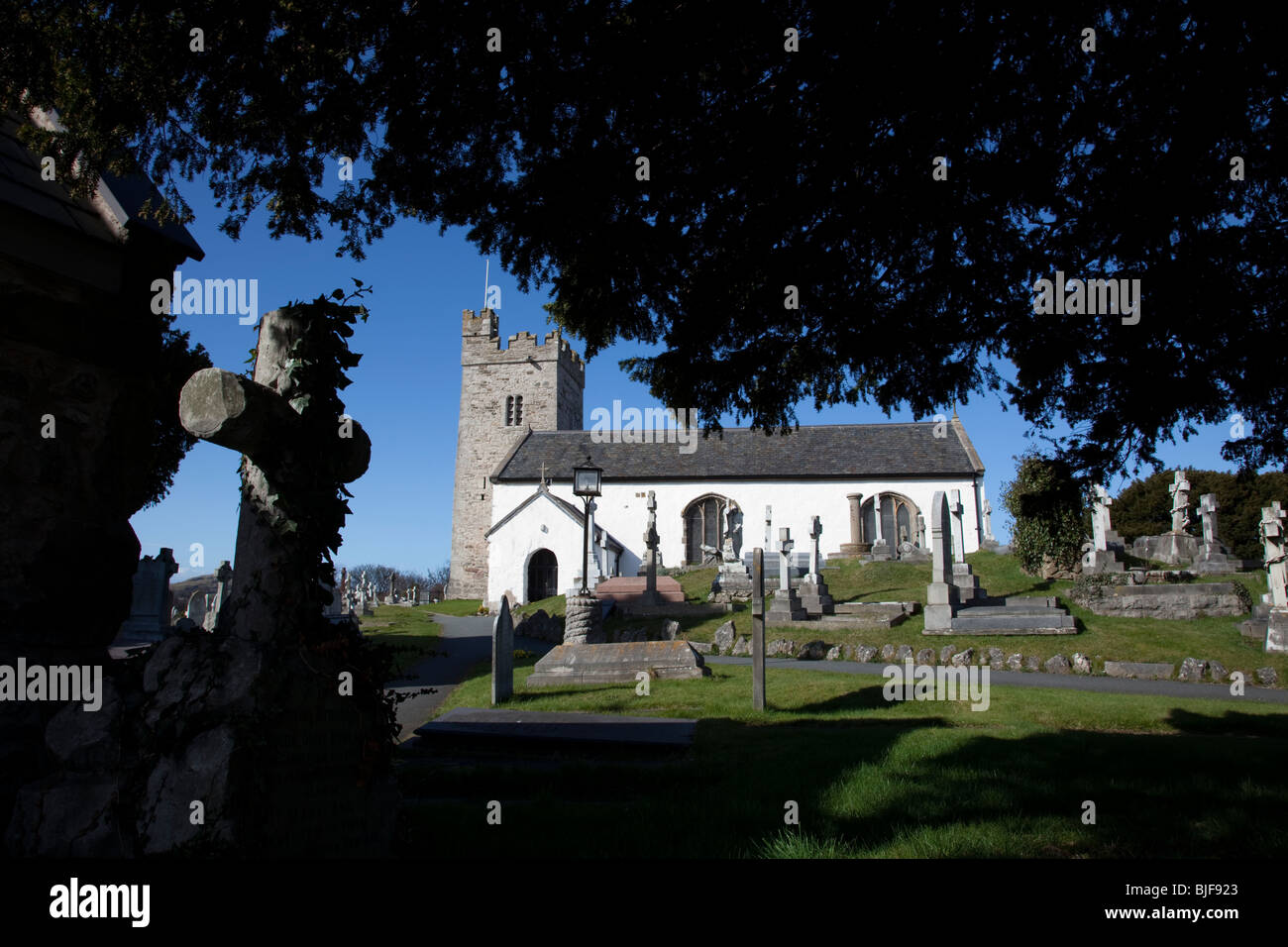 The 13th century Welsh church of St Trillo in the ancient parish of Llandrillo-yn-Rhos dating from1254. - Stock Image