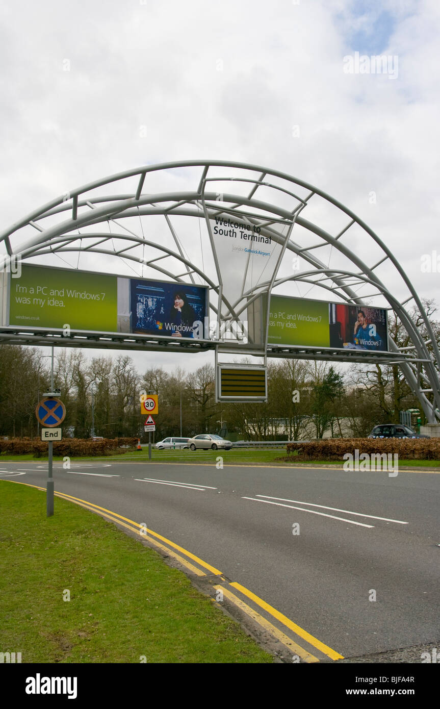 Welcome To South Terminal Sign At London Gatwick Airport - Stock Image