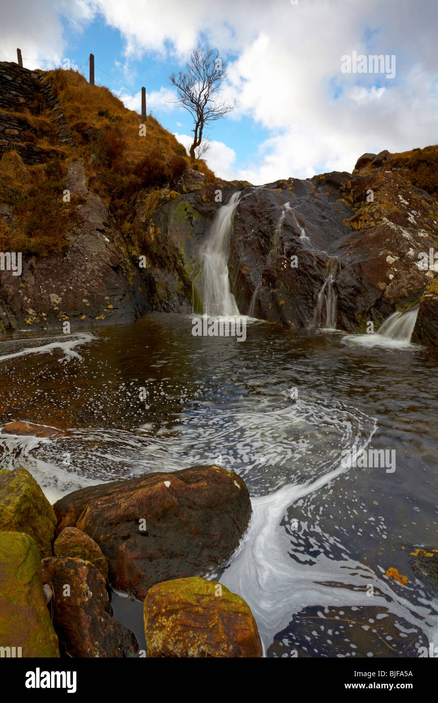 mountain stream in Co.Kerry, Southern Ireland with rocks and small waterfall - Stock Image