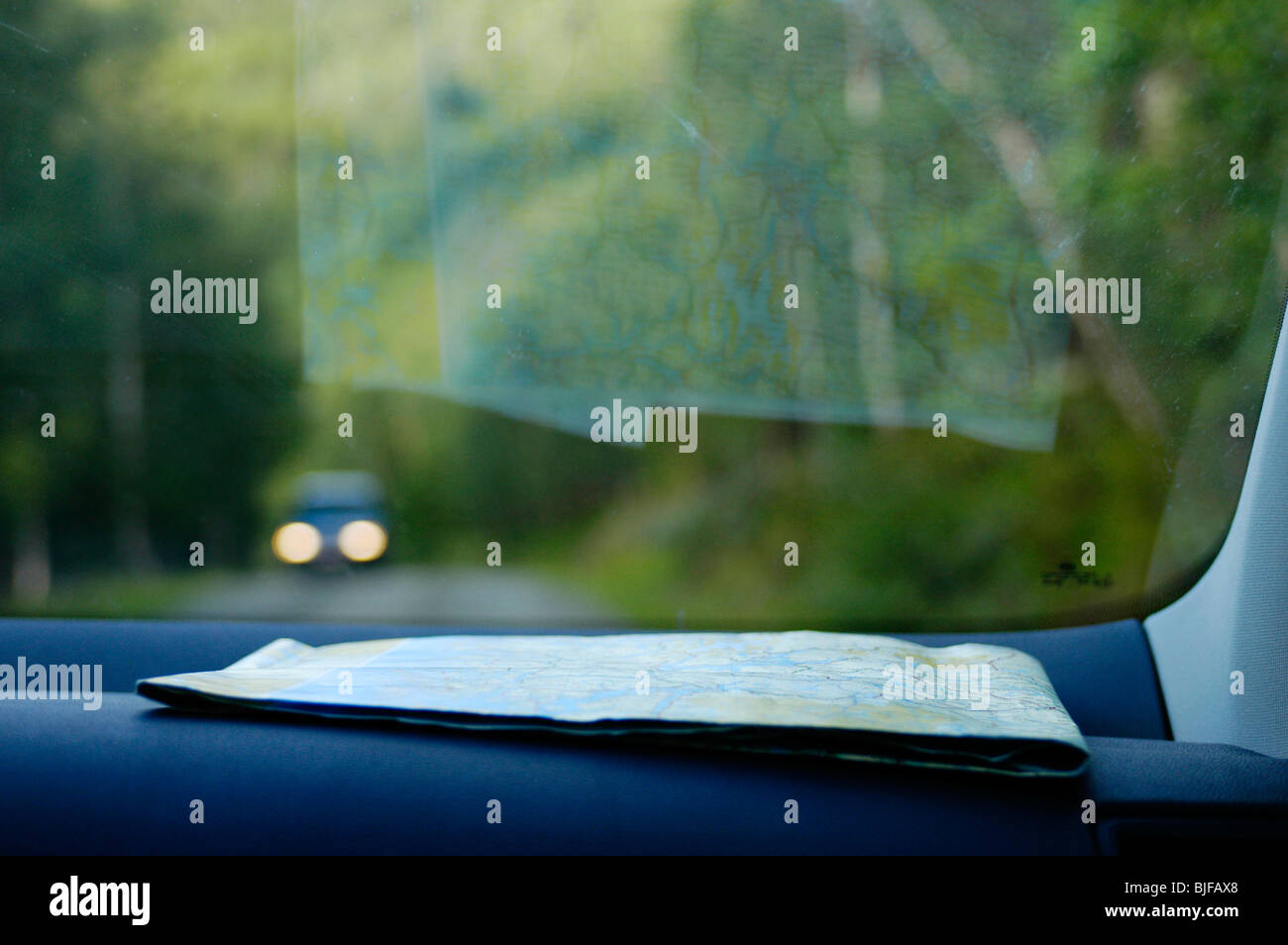 Map on dashboard of a car - Stock Image
