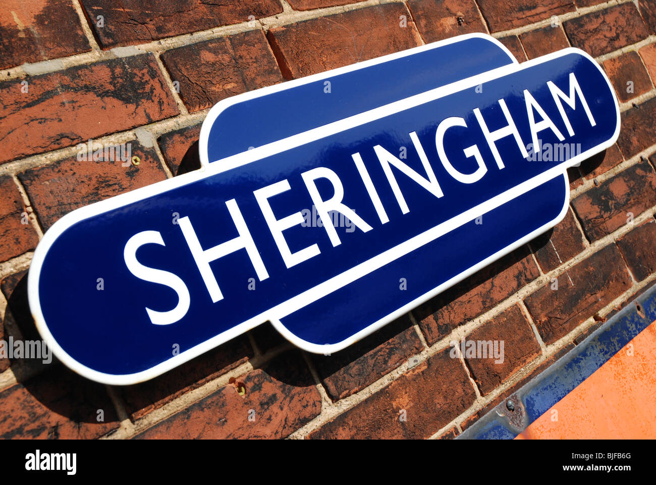 Station sign at Sheringham on the North Norfolk Railway - Stock Image